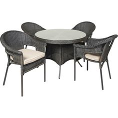 Nouveau Como 5 Piece Setting - Mitre 10 Outdoor Tables, Outdoor Decor, Dining Table Chairs, Wicker, Outdoor Furniture Sets, Home Decor, Decoration Home, Room Decor, Dining Chairs