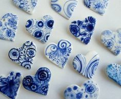 Blue and White ~ Hearts