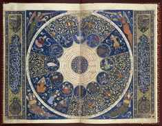 The horoscope of the Persian Timurid ruler Iskandar Sultan, This is the only surviving individual illuminated horoscope from medieval Islam. Al-Mizan (Libra) is at 3 o'clock in the circle of zodiac. Vanitas, Wellcome Collection, Medieval Art, Illuminated Manuscript, Islamic Art, Sacred Geometry, Middle Ages, Occult, Cosmos