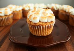 I love marshmallows, and marshmallows on top of sweet potato cupcakes sound really good
