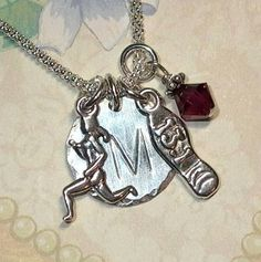 Half Marathon Runners Hand Stamped Sterling Silver Initial Charm Necklace - 13.1 on Etsy, $34.00