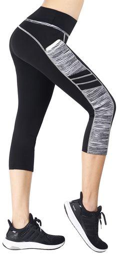 eae45bc4dbe8d Sugar Pocket Womens Capris Tights Workout Running Leggings Yoga Pants M  BK GREY