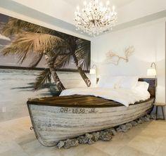 Eclectic Guest Bedroom with Mural, DIY Boat Bed, High ceiling, limestone tile… Bedroom Themes, Bedroom Decor, Outdoor Bedroom, Bedroom Furniture, Diy Furniture, Boat Furniture, Furniture Stores, Ocean Bedroom, Nautical Bedroom