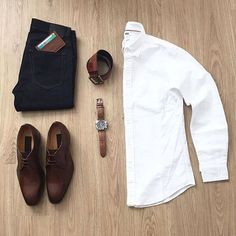 black denim & white button down outfit grid Mode Outfits, Casual Outfits, Fashion Outfits, Fashion Hats, Daily Fashion, Mens Fashion, Fashion 2020, Look Man, Mens Attire