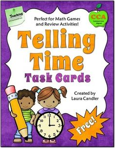 free Telling Time Task Cards includes 24 clock face task cards, 2 types of recording forms, and answers. These cards can be used with a variety of activ. Fun Math, Math Activities, Math 2, Math Test, Math Stations, Math Centers, Math Lessons, Spanish Lessons, Learning Spanish