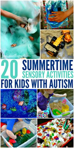 20 Summertime Sensory Activities for Kids With Autism Do your best to keep the kids busy. Here are some fun and relaxing activities that are great for all kids but especially kids with autism and sensory disorder. Autism Activities, Autism Resources, Summer Activities, Toddler Activities, Relaxation Activities, Activities For Autistic Children, Sorting Activities, Aba Therapy Activities, Autism Apps