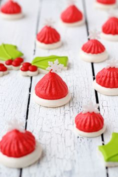These Santa Hat Meringues are so simple to make and your guests will love them. There are only three ingredients so you can whip them up in no time.