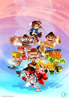 Though this is a lethal Street Fighter 2 crew, the cuteness of character design makes me smile. Street Fighter Alpha 3, Street Fighter Game, Capcom Street Fighter, Street Fighter Characters, Chibi, Wallpaper Gamer, League Of Legends, Game Character, Character Design