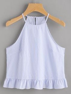 Shop Buttoned Keyhole Back Frill Striped Halter Top online. SheIn offers Buttoned Keyhole Back Frill Striped Halter Top & more to fit your fashionable needs.Online shopping for Buttoned Keyhole Back Frill Striped Halter Top from a great selection of Teen Fashion, Fashion Outfits, Womens Fashion, Casual Outfits, Cute Outfits, Mode Hijab, Cute Tops, Diy Clothes, Blouse Designs