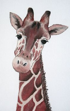 Giraffe Painting PRINT giraffe acrylic giraffe by DearWilderness