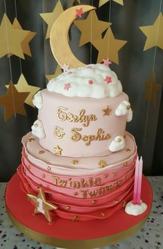 Twinkle Twinkle Little Star 1st birthday cake for my gorgeous twin girls. August 2016.