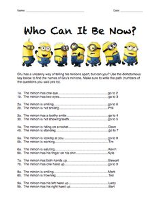 Here's a Minions dichotomous key activity. More