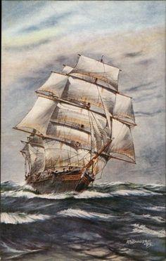 Schooner Ship A Stiff Breeze A/S Bannister c1910 Postcard