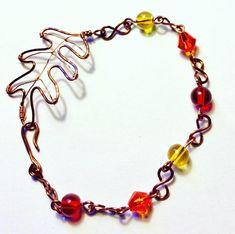 Fall color beads linked with copper wire and it has a wire leaf as a clasp. Copper wire is 20 gauge, beads are Copper Wire, Autumn Leaves, Jewlery, Jewelry Making, Beads, Bracelets, Handmade, Beading, Hand Made