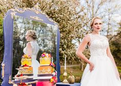 Purple Mirrored Vanity for colorful wedding decor Photo Credit: Massart Photography Florals: Michelle Jeanne Floral Design HMU: M.A.W. Beauty Bridal: Spark Bridal Outlet Jewelry: Perception Jewelry Cake: Christine Doucette Venue: Slater Park, RI Model: Erin Powers