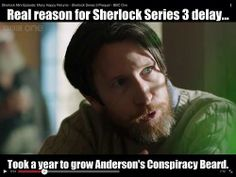 The real reason for the Sherlock Series 3 delay: It took a year to grow Anderson's conspiracy beard. :D