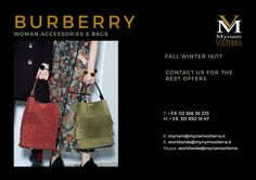 BURBERRY FW 16/17 bags and accessories available for a pre order at Myriam Volterra - The Italian Buying Office for Fashion & Luxury Register on our website to receive an updated catalogues with our offers luxuryitalianbrands.com