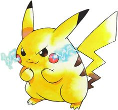 #Pikachu Y 2 from the official artwork set for #Pokemon Yellow on the #GameBoy Color. http://www.pokemondungeon.com/pokemon-yellow-version