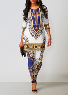 Dashiki Print Top and Ankle Length Pants | liligal.com - USD $26.37