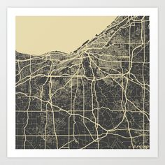 Cleveland map Art Print by Map Map Maps - $18.00