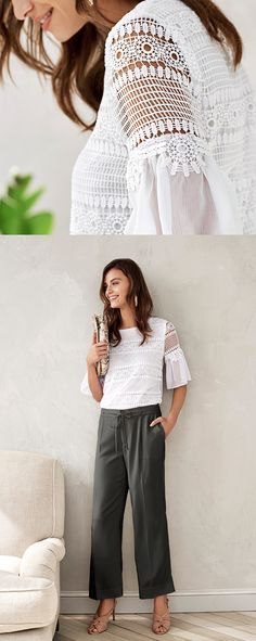 Add an elegant flair to your casual Friday style. The intricate white lace detail in our knit blouse is perfectly complemented by the sheer and linen tiered sleeve | Banana Republic