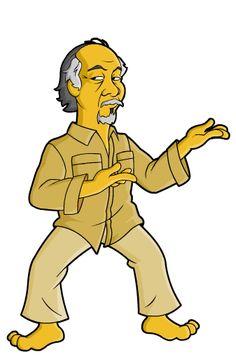Miyagi, Daniel Larusso The Karate Kid is so quintessentially to me. As a grade school kid I had a great time watching it. The Karate Kid 1984, Karate Kid Cobra Kai, Simpsons Drawings, Simpsons Art, Miyagi, Simpsons Characters, Marvel Images, Cartoon Crossovers, Classic Cartoons