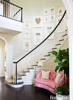 The walls are covered in Carleton V's Plantation and trimmed in Benjamin Moore's Mayonnaise. Sisal runner, Stark