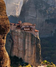 Highly above a cliff Roussanou Monastery, Meteora, Greece. Photo by – All Pictures Places To Travel, Places To See, Travel Destinations, Greece Destinations, Phuket, Places Around The World, Around The Worlds, Wonderful Places, Beautiful Places