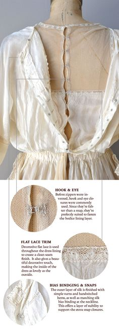 Via Coletterie - Edwardian silk dress construction details