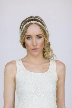 Wedding Head Piece Headband Double Layered by ThreeBirdNest