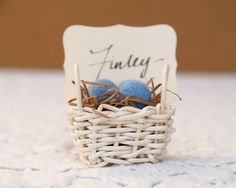 Country Wedding Place Cards 10 Spring Easter Egg Basket Seating holder Table Rustic Favor Farm Barn Turquoise Blue Pastel table setting. $30.00, via Etsy.