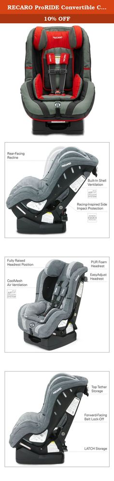 RECARO ProRIDE Convertible Car Seat , Blaze. The ProRIDE is a premium convertible seat designed to offer your most precious passengers the safety you demand and the comfort they need. Your child will ride in comfort and optimal safety with this convertible car seat. The Side Impact Protection (SIP) is designed to distinctly protect five vulnerable areas of a child, head, neck, face, pelvis and torso. The easy adjust, soft touch head restraint is padded with real automotive PUR foam and...