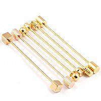6 Pc Collar Bar Pin Set, Gold Tone Ba…