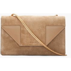 SAINT LAURENT Beige Suede Betty Light Bag ($1,450) ❤ liked on Polyvore
