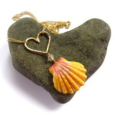 Sunrise Shell Necklace, Gold Hammered Heart, Hawaii Beach Jewelry