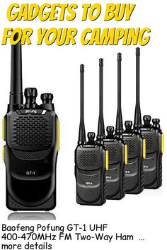 (This is an affiliate pin) Baofeng Pofung GT-1 UHF 400-470MHz FM Two-Way Ham Radio(Yellow), 16 Channels, 1500mAh Battery, 5 Pack Camping Gadgets, Ham Radio, Walkie Talkie, Packing, Electronics, Yellow, Bag Packaging, Consumer Electronics