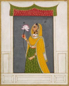 Lady with a Lotus. Opaque watercolor on paper. Mewar painting was characterized by great and primitive vigour. Primary colours, reds, blues and yellows are used lavishly. Mughal Miniature Paintings, Mughal Paintings, Indian Art Paintings, Rajasthani Painting, Rajasthani Art, Mehndi, Indian Traditional Paintings, Indian Folk Art, Krishna Art