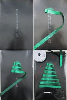 and Stylish DIY Christmas Gift Wrapping Ideas. Shown: simply folding a green ribbon back and forth on double-sided tape.Fun and Stylish DIY Christmas Gift Wrapping Ideas. Shown: simply folding a green ribbon back and forth on double-sided tape. Creative Gift Wrapping, Creative Gifts, Wrapping Gifts, Creative Christmas Gifts, Easy Gift Wrapping Ideas, Diy Gift Wrap, Easy Diy Wrapping Paper, Holiday Gifts, Brown Paper Wrapping