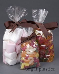 100 Clear Cellophane Sweet / Party / Gift Bags 3' x 1.5' x 7.5