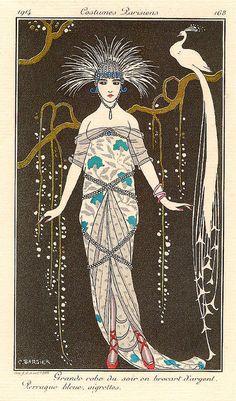 grande robe du soir en brocart d'argent by George Barbier, 1914