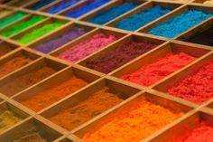 Rainbow of paint pigment powder!
