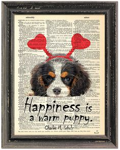 Cavalier King Charles spaniel, Dictionary Art print, Dictionary paper, Wall Art Dog Drawing,Painting picture, Art pets, Art DogPoster