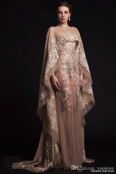 2017 krikor jabotian Prom Dresses with Cape High Neck Champagne Lace Appliques Vintage Satin Long Party Dress Formal Evening Gowns