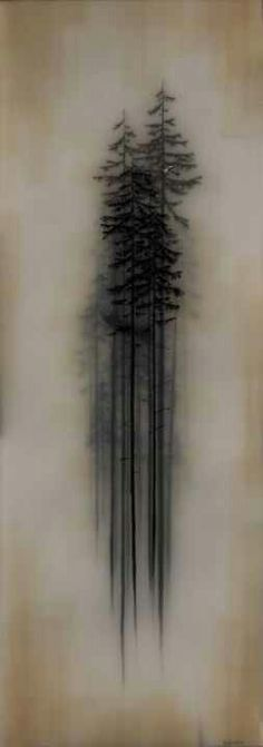 No Artist- but I love how the artist took out a specific moment of a landscape drawing and kept the moodiness even by singling out only a few trees.