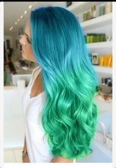 Blue to green mermaid hair