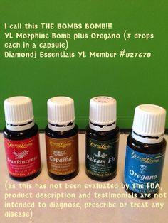 Young Living Essential Oils:  Morphine Bomb Plus Oregano for Pain: From Kathi Undlin Johnson I have personally found that if I add oregano to the morphine bomb it kicks out my back pain even faster... If you research oregano, it has many of the same chemical constituents as actual morphine...  basil is also great for muscle pain.