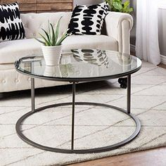 Modern Style Tempered Glass Top Round Shaped Sofa Coffee Tables | Metal  Frame, Glass Finish