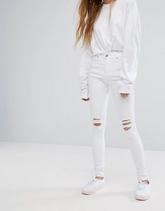 Dr Denim Lexy Mid Rise Second Skin Super Skinny Ripped Knee Jeans - Wh