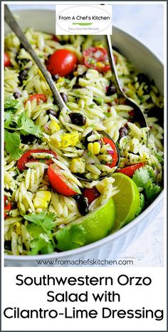 Southwestern Orzo Pasta Salad with Cilantro - Lime Dressing is a fun, colorful and super flavorful addition to your Southwestern or Mexican-inspired meal!  With black beans, corn, tomatoes and red onion, it's the perfect, easy summer salad! The Cilantro and Lime Dressing has fresh jalapeno for the perfect spicy kick! It's a great lunch, light meal or south-of-the-border side dish. #southwesternfood #orzo #orzopasta #orzopastasalad Orzo Recipes, Side Salad Recipes, Potluck Recipes, Healthy Recipes, Summer Recipes, Healthy Meals, 21 Day Meal Plan, Easy Summer Salads