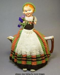Vintage Retro Celluloid Half Doll Hand Knitted or Crocheted Teapot Tea Cosy Cozy